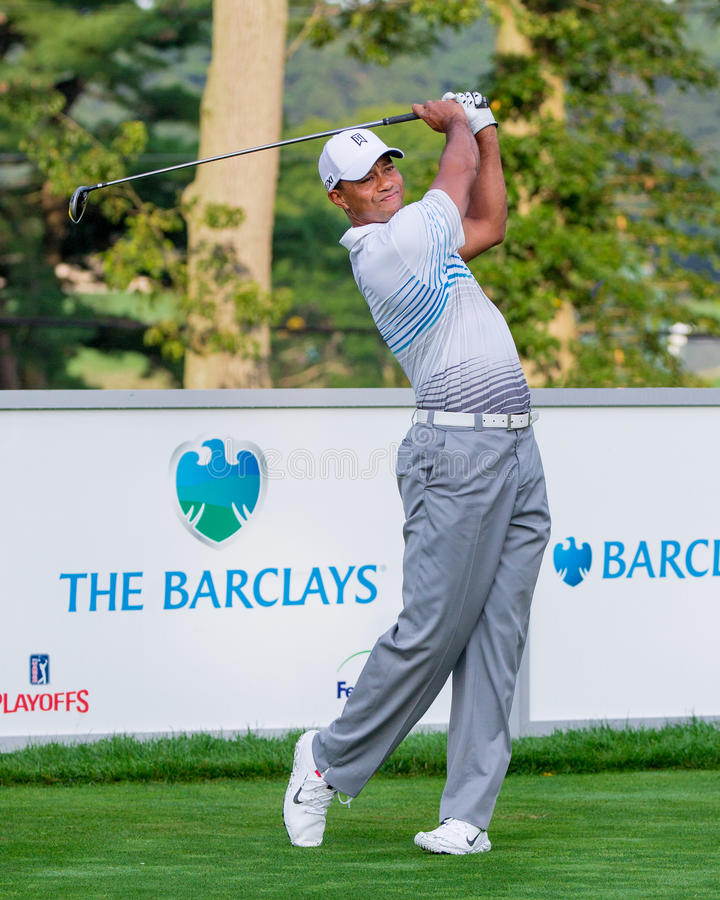Przy Barclays tygrysi Drewna 2012 fotografia stock