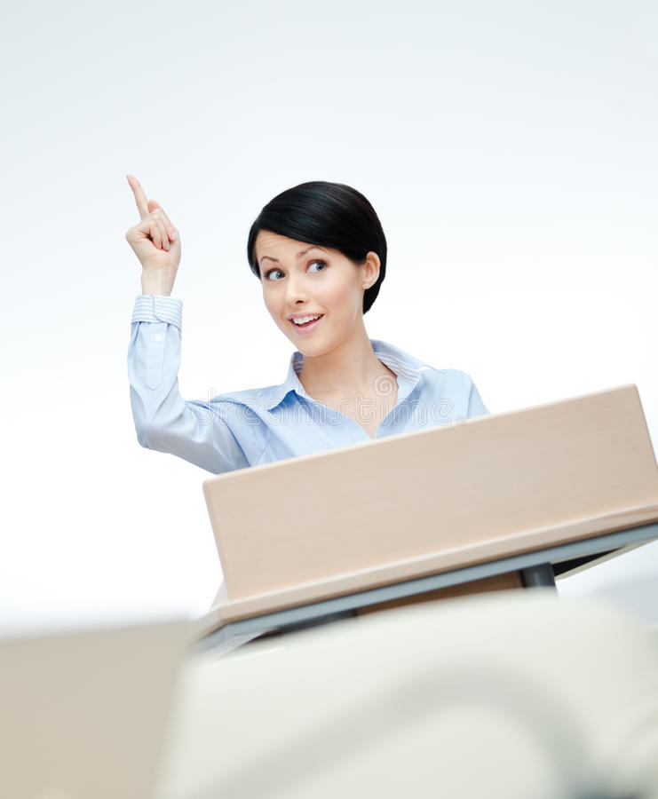 Przy deską żeński mówca zdjęcie stock