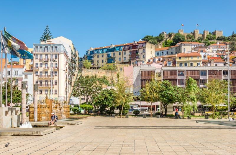 Przy kwadratowym Martim Moniz w Lisbon, Portugalia - obrazy royalty free