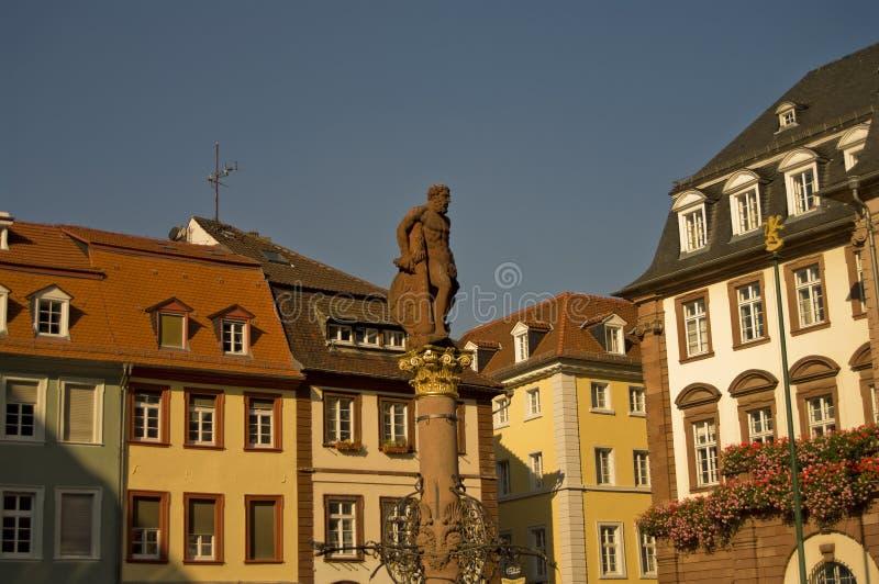 Przy Marktplatz Hercules statua, Heidelberg zdjęcie stock