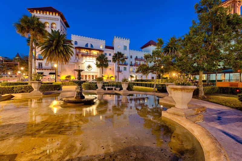 Przy Noc śródmieścia St. Augustine obraz royalty free