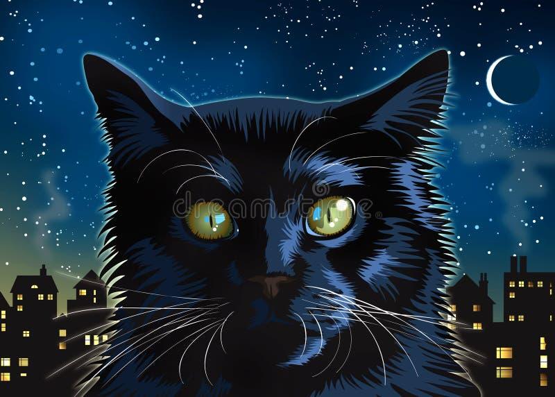 Przy Noc czarny Kot ilustracja wektor