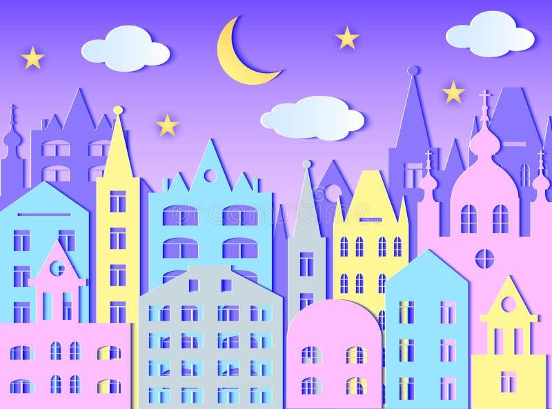 Przy Noc duży Miasto ilustracja wektor