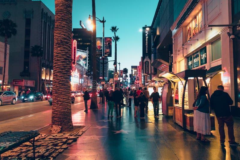 Przy Noc Hollywood Bulwar zdjęcia stock