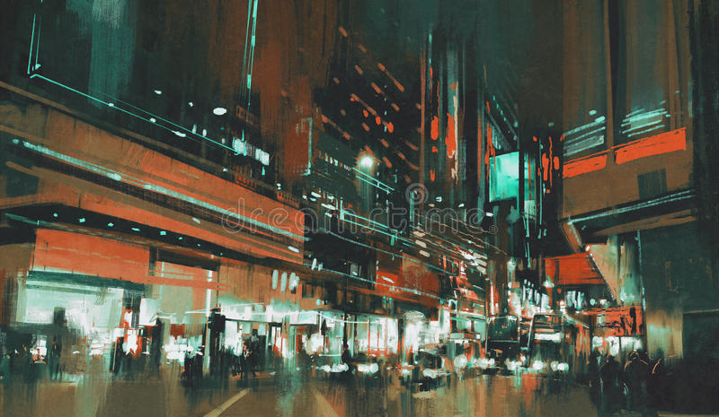 Przy noc miasto ulica fotografia stock