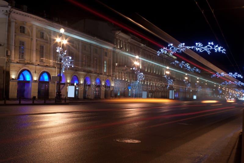 Przy noc Nevsky Perspektywa, Rosja obraz stock