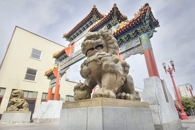 Przy Oregon Portlandzką Bramą Foo chińscy Psy Chinatown zdjęcia royalty free