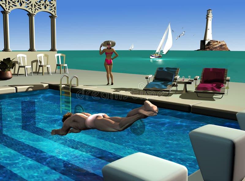 Przy pływackim basenem ilustracja wektor