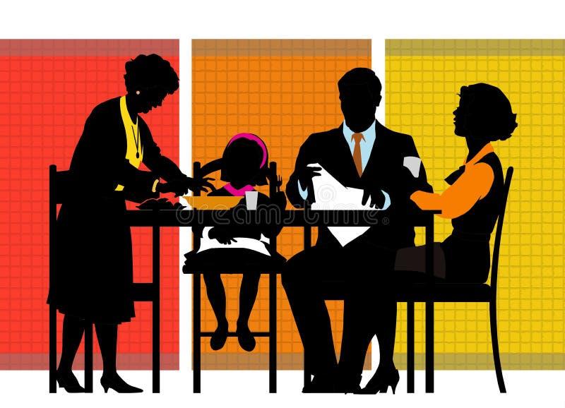 Przy stołem rodzinny obsiadanie ilustracji