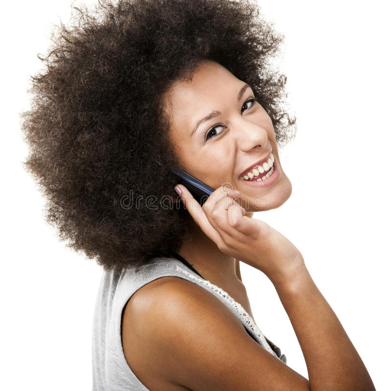 Przy telefon komórkowy piękna kobieta obraz stock