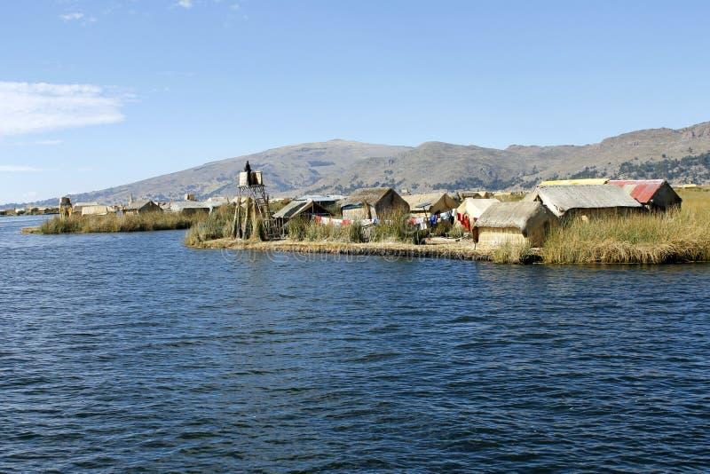 Przy Titicaca spławowe Uros wyspy, Peru obraz royalty free
