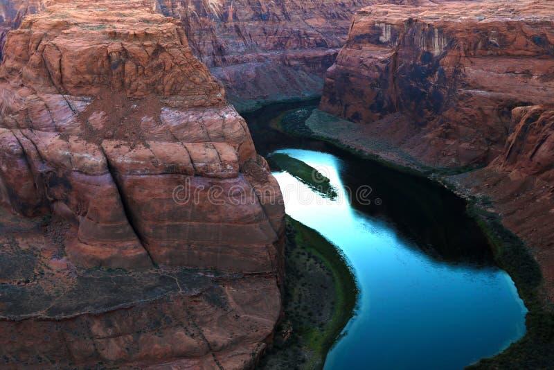 Przy zmierzchem podkowa Chył - strona Arizona, usa Widok zdjęcia royalty free
