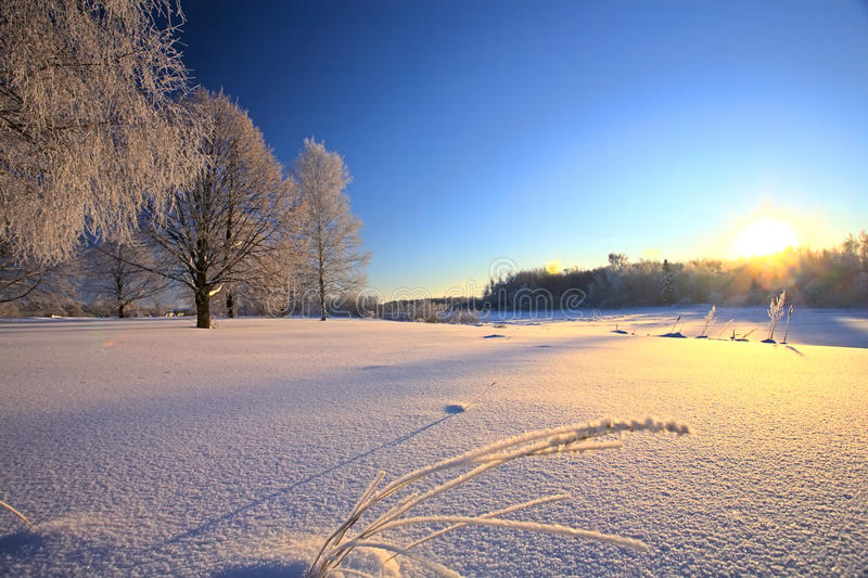 Przy zmierzchem zima krajobraz obrazy royalty free
