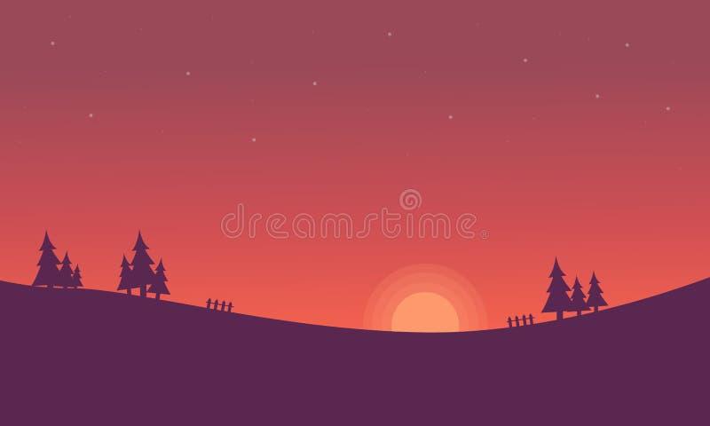 Przy zmierzchu wzgórza krajobrazem sylwetki ilustracja wektor