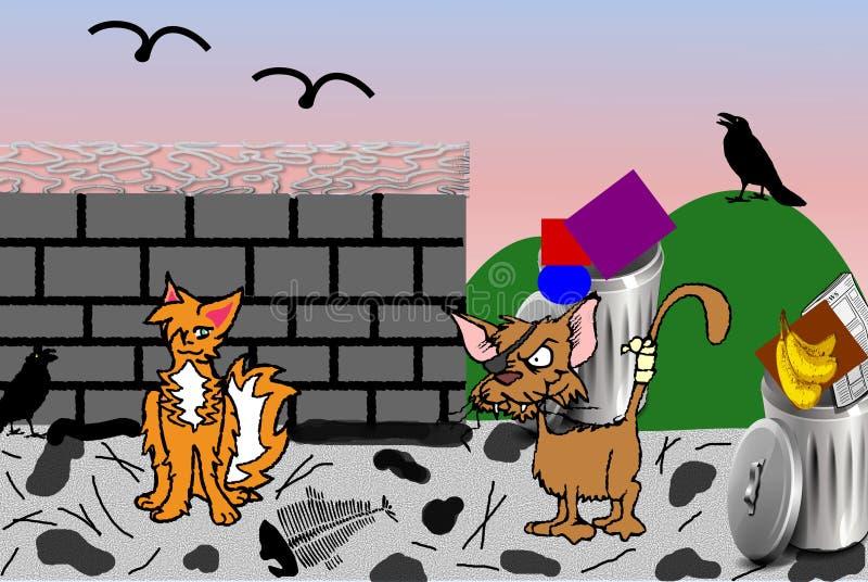 Przybłąkany kota ranek - Cyfrowej ilustracja royalty ilustracja