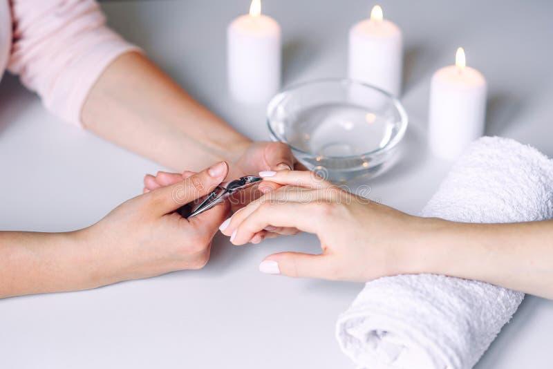 Przybija pi?kno Kobiet r?ki otrzymywa gw??d? opieki traktowanie fachowym manicure'u specjalist? w gwo?dzia salonie manicurzysta zdjęcie royalty free