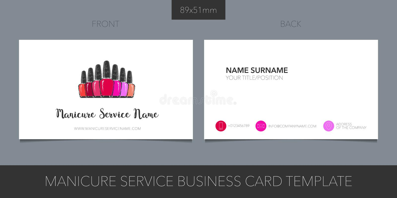 Przybija salon, manicure wektorową wizytówkę z logo, ikonę i szablon, ilustracja wektor