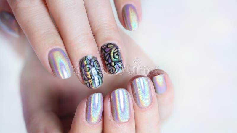 Przybija sztuka manicure zdjęcie royalty free