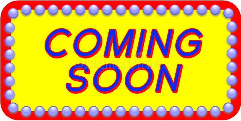 Przychodzący wkrótce graficznego signage dla biznesowego lub nowego zaczyna podnosi ilustracja wektor