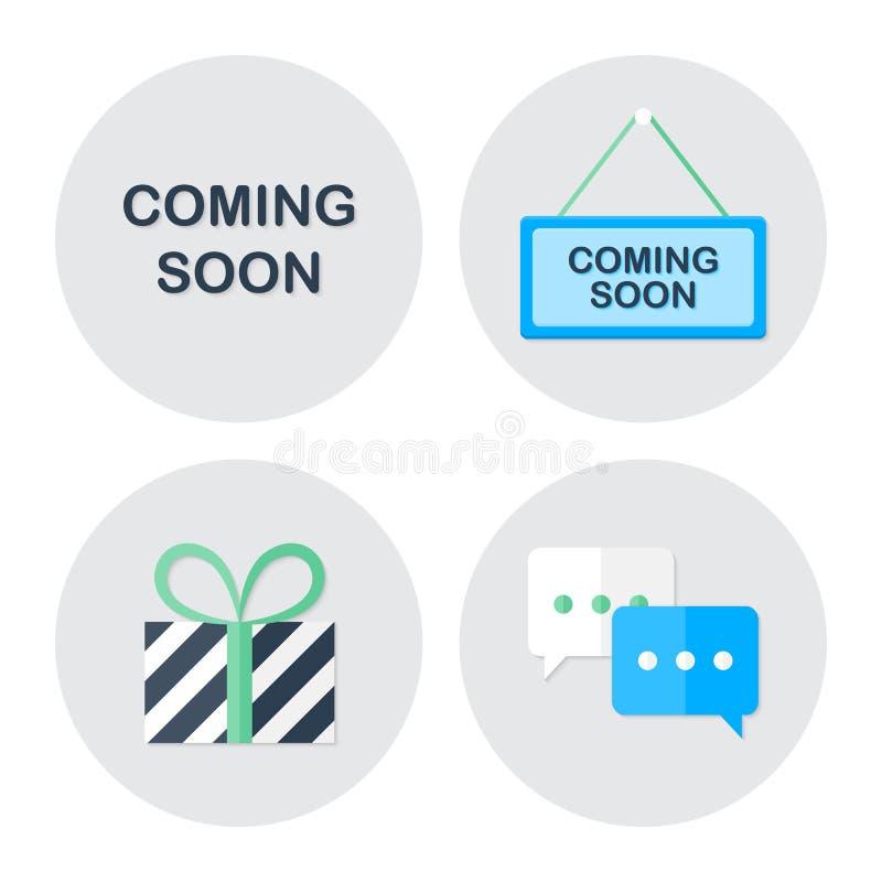 Przychodzący wkrótce robić zakupy ikony ustawiać ilustracji