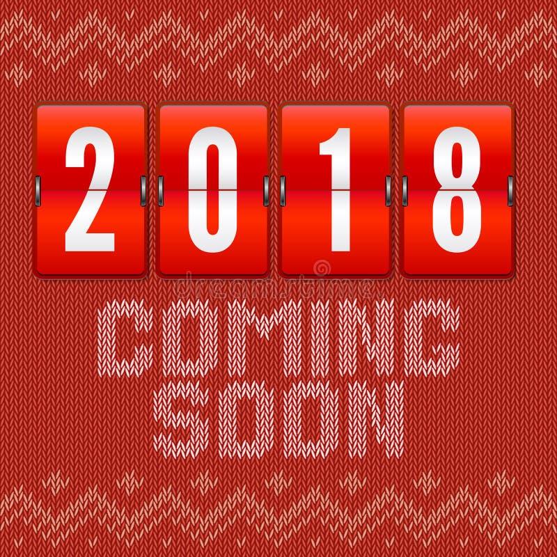 Przychodzić wkrótce 2018 nowy rok, pojęcie karta na tle trykotowy wzór Analogowy rok odpierający na tle ilustracja wektor