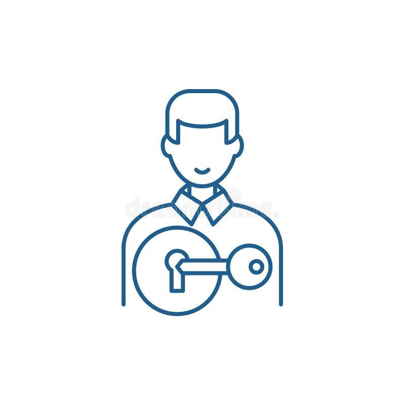 Przyciągać klient linii ikony pojęcie Przyciągać klienta płaskiego wektorowego symbol, znak, kontur ilustracja ilustracja wektor