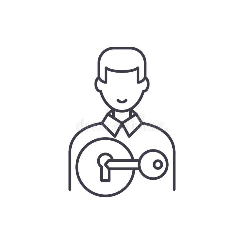 Przyciągać klient linii ikony pojęcie Przyciągać klient wektorową liniową ilustrację, symbol, znak ilustracja wektor