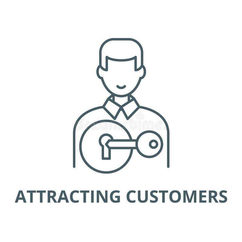 Przyciągać klienta wektoru linii ikonę, liniowy pojęcie, konturu znak, symbol ilustracja wektor
