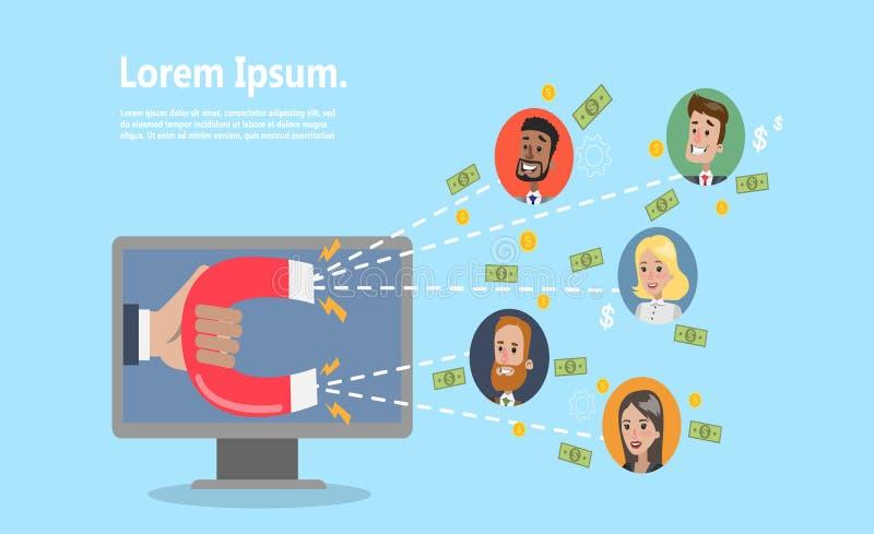 Przyciągać online klientów royalty ilustracja