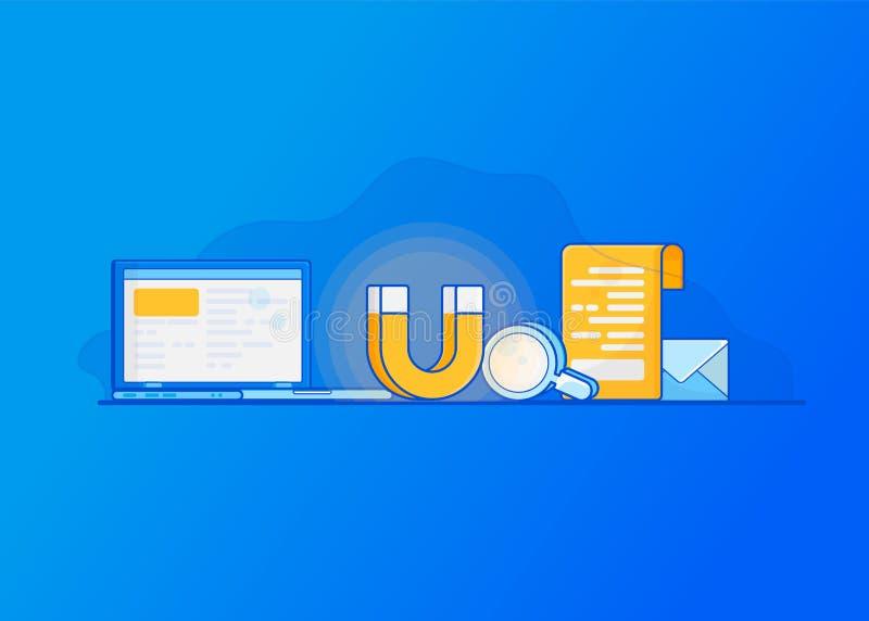 Przyciągać online klientów E ilustracja wektor