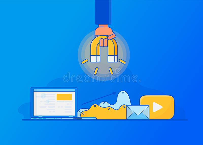 Przyciągać online klientów E ilustracji
