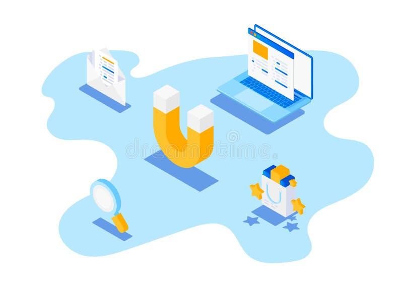 Przyciągać online klientów E royalty ilustracja