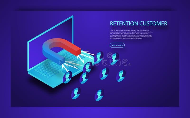 Przyciągać online klientów Magnes przyciąga ludzi i pieniądze w ekranie Klient retenci strategia ilustracja wektor