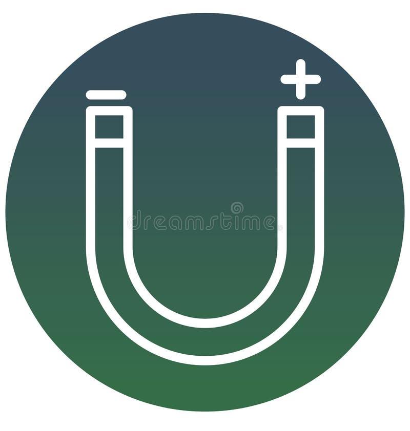 Przyciąga, magnes, Wektorowa ikona może łatwo redagować lub modyfikująca ilustracji