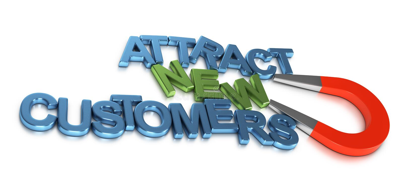 Przyciąga Nowych klientów, rozwój biznesu ilustracja wektor