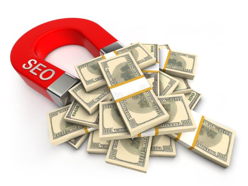 przyciąga pieniądze seo royalty ilustracja