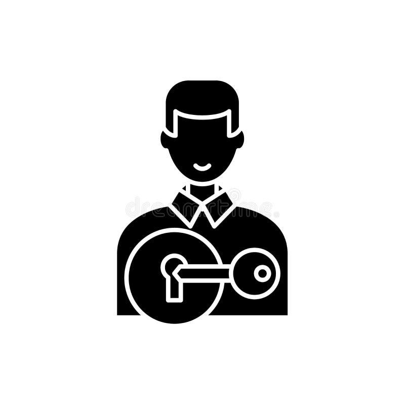 Przyciągający klientów czarna ikona, wektoru znak na odosobnionym tle Przyciągać klienta pojęcia symbol, ilustracja royalty ilustracja