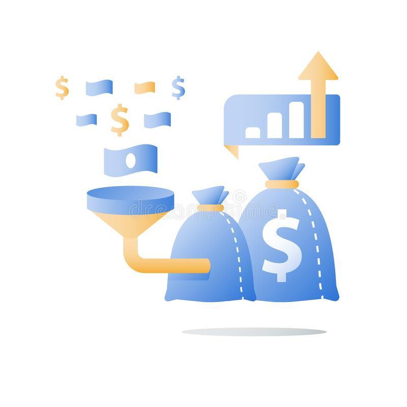 Przyciągający pieniądze, funduszu dźwigania kampania, łatwa pożyczka, szybki kapitałowy przyrost, inwestorski powrót, lej i pieni royalty ilustracja
