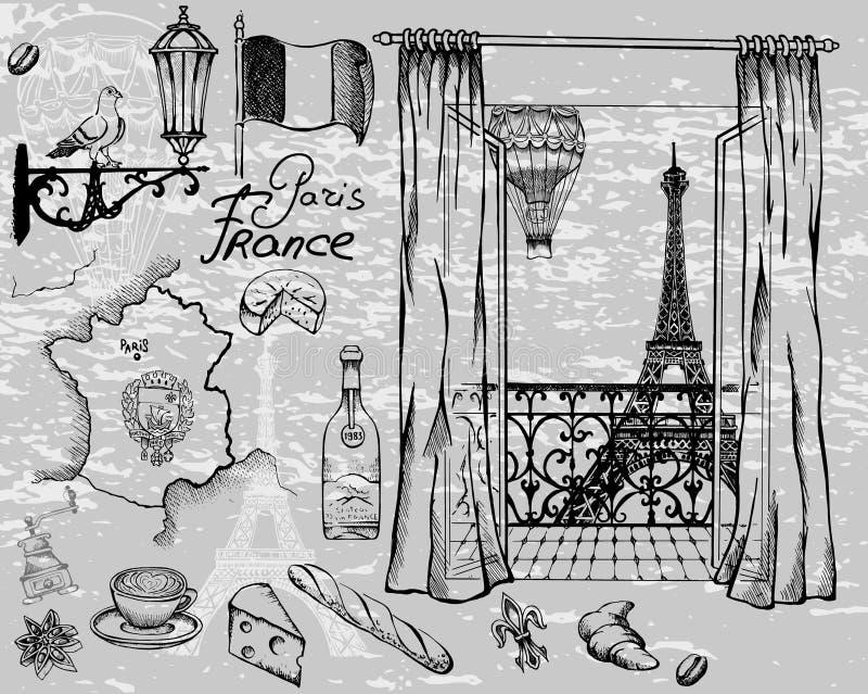 Przyciągania i szczegóły wyśmienity urok Paryż ilustracja wektor
