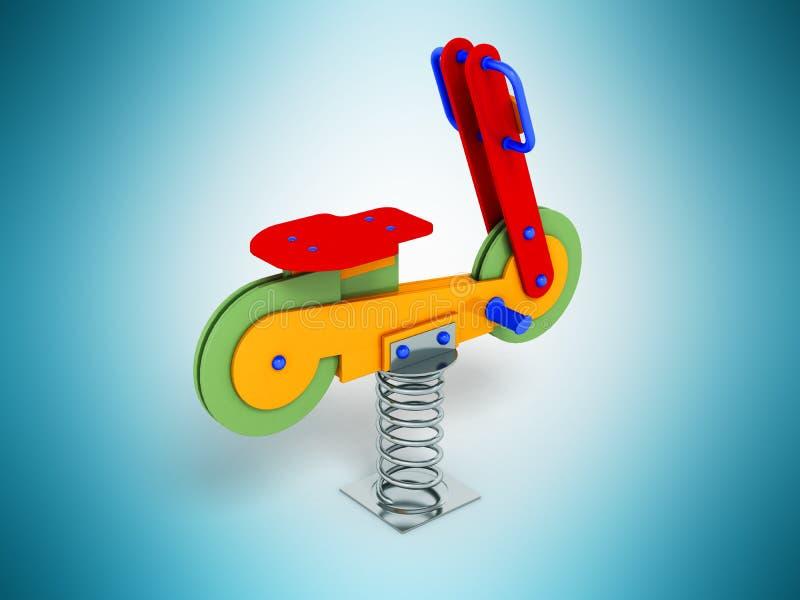 Przyciąganie dla dziecko wiosny motocyklu czerwieni 3d odpłaca się na błękicie ilustracja wektor