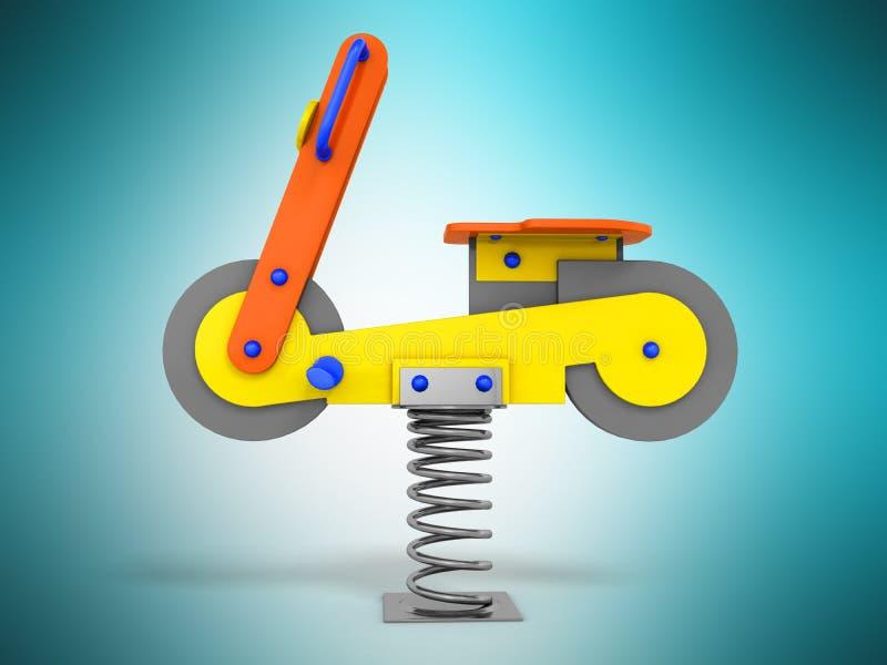 Przyciąganie gra dla dziecko wiosny żółtego błękita na lewym 3d r royalty ilustracja