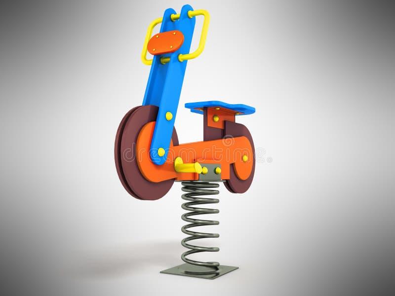 Przyciąganie gra dla dziecko wiosny motocyklu żółtego błękitnego brązu royalty ilustracja