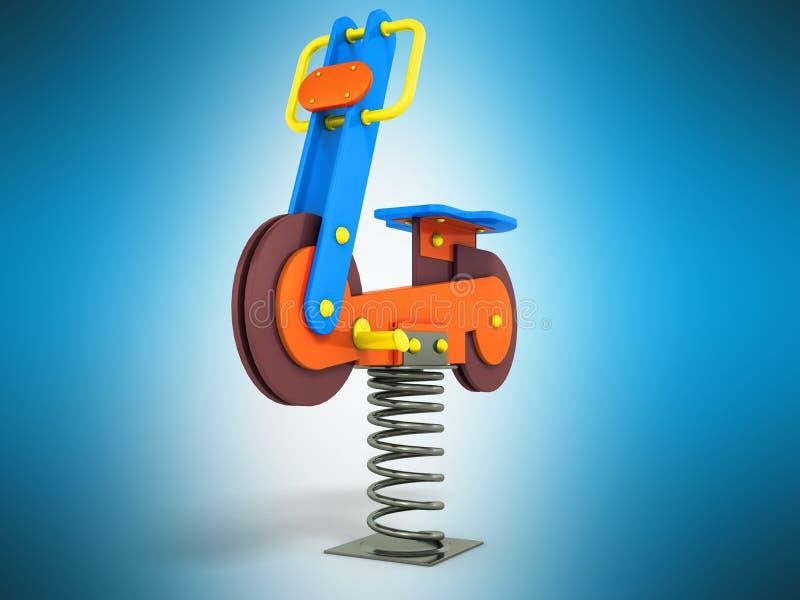 Przyciąganie gra dla dziecko wiosny motocyklu żółtego błękitnego brązu ilustracja wektor