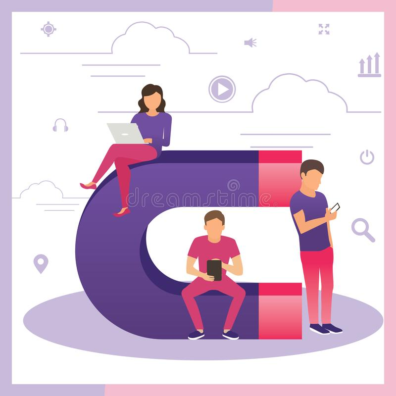 Przyciąganie klientów online Wielki magnes i ludzie z laptopem Strategia zatrzymywania klientów, cyfrowy marketing przychodzący, royalty ilustracja