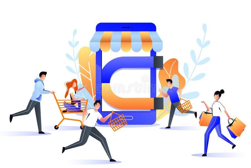 Przyciąganie nabywcy online przechować sprzedaż Duży magnes przyciąga klientów, marketingowa strategia biznesowa r?wnie? zwr?ci?  royalty ilustracja