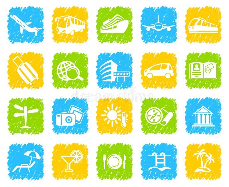 przycinający cyfrowych dróg ikon zawierać ilustracyjnego zadrapanie podróżuje Podróży ikony na guzikach ilustracja wektor