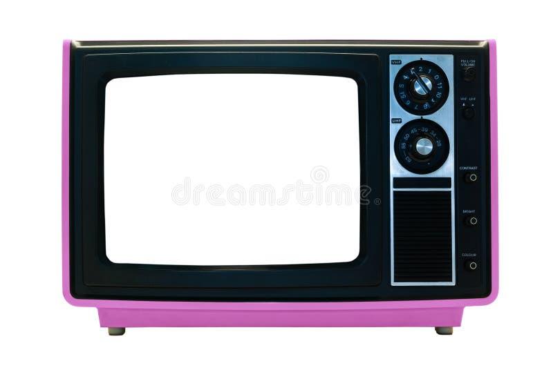 przycinający odosobnione różowy ścieżki retro tv obraz stock