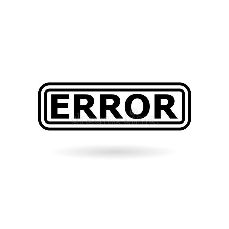 Przycisk ikony błędu izolowany na białym tle royalty ilustracja