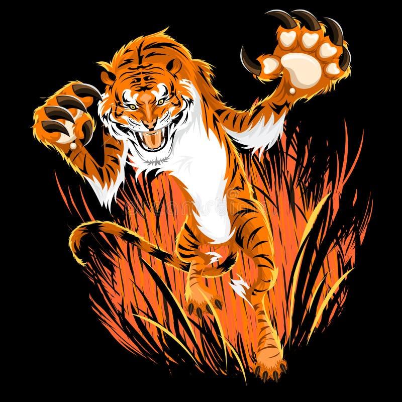 przyczajenie tygrys ilustracja wektor