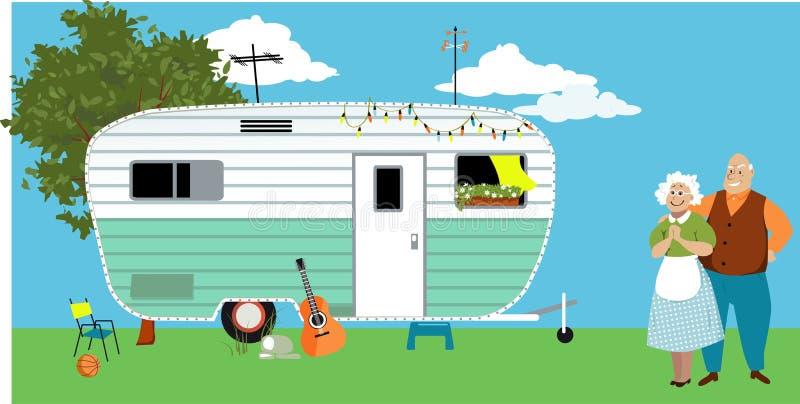 Przyczepa dom dla seniorów ilustracji